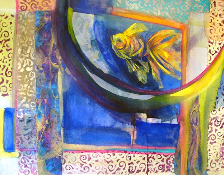 Mixed media watermedia painting by Diana Marta, abstract patterns and shapes surrounding a goldfish in blue, yellow, and orange.
