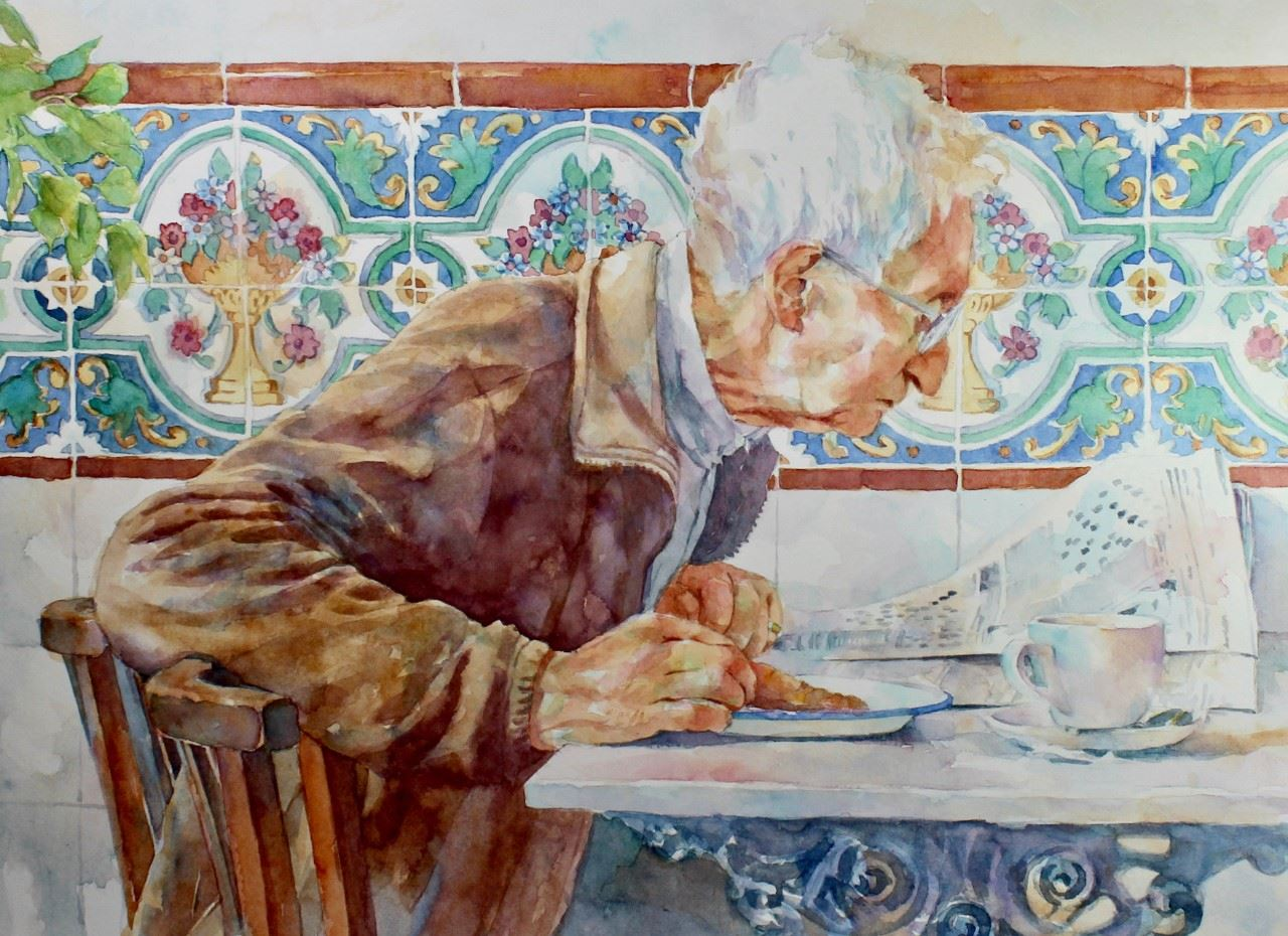 Watermedia painting by Pam Wenger, a white haired man sitting at a breakfast table, eating and reading the newspaper, framed by a decorative tile pattern on the wall behind him.