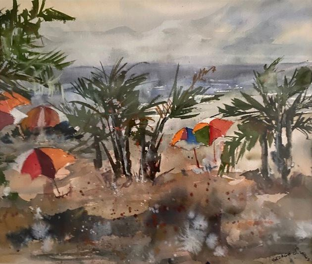 Watermedia painting by George Wills, a beach scene with palm trees and colorful umbrellas