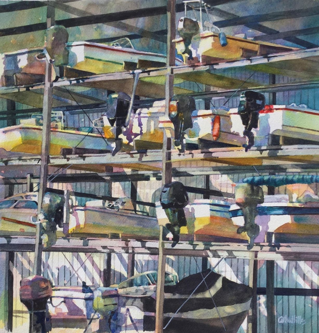 Watermedia painting by Hillis, image of boats in dry dock arranged in a geometric way